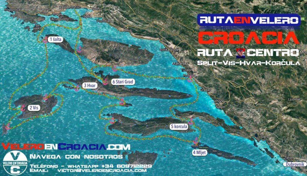 rutas en Velero por croacia
