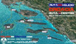 mapa ruta velero croacia Split Trogi Hvar Korcula Vis Mljet