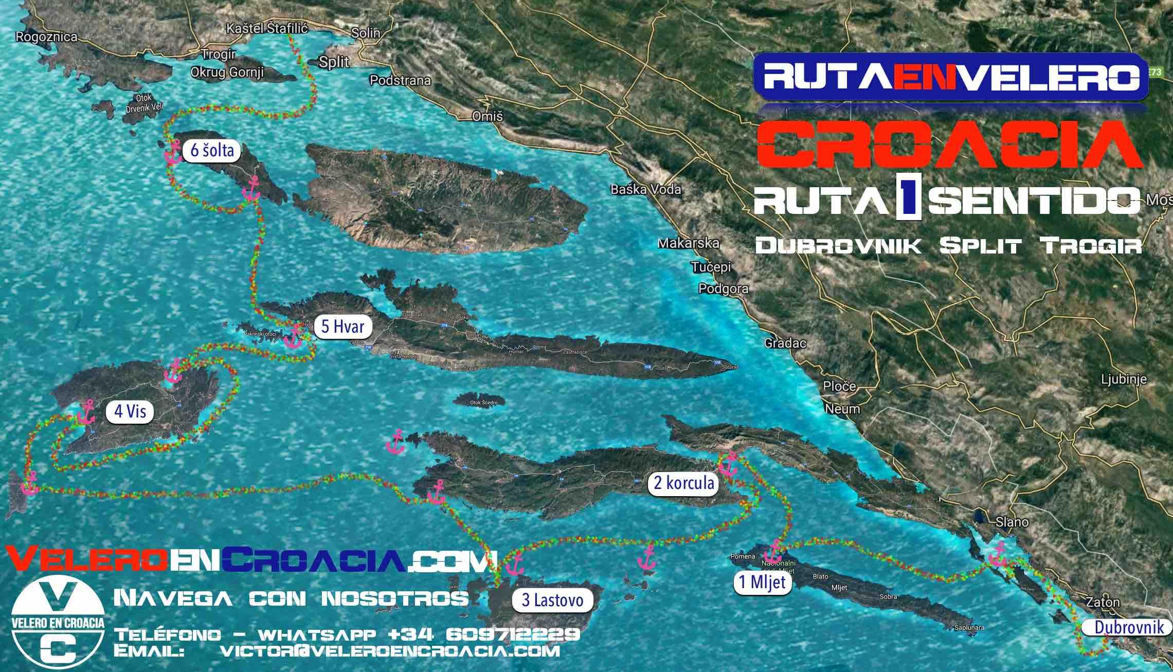ruta un sentido Split - Dubrovnik